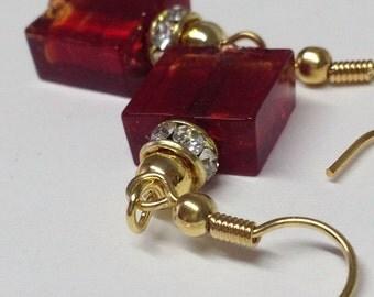EARRINGS SQUARE: earring Murano glass. Nichelfree.