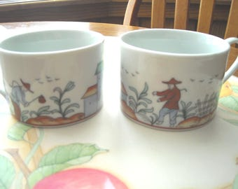 Coffee/Tea Cups (2) With Oriental Farmer Farming Made In China