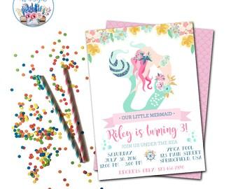 Mermaid Party Invitation, Mermaid Birthday Invite, Under the Sea