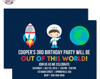 Outer Space Birthday, Outer Space Invitation, Outer Space Birthday Party, Space Party Invitation