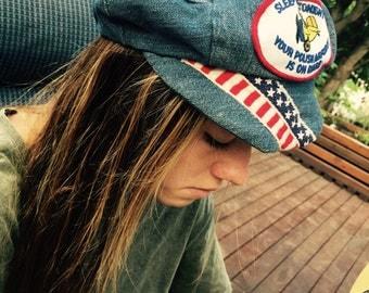 Vintage 70's denim patched hat