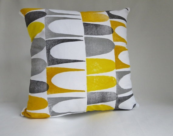 Mid Century Modern Style Throw Pillow Cover Gray Yellow
