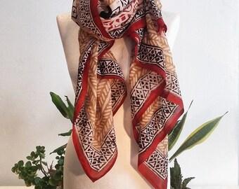 Bagru - Hand Block Printed - Vegan - Vegetable Dye, Natural Cotton Scarf