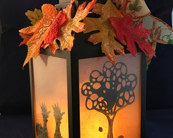 Falling Leaves  Medium Lantern
