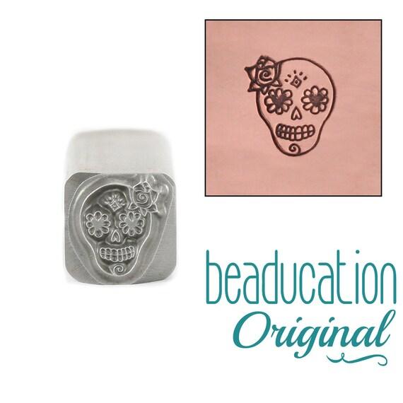 Female Sugar Skull Metal Design Stamp Lady 6.5mm x 8mm
