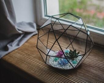 Large terrarium icosidodecahedron Stained glass terrarium Glass decoration Planter for indoor gardening Home decor Christmas terrarium