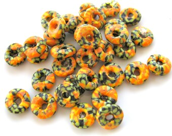 Glass beads, African glass, 35 beads, 9 to 10mm by 4mm, orange, green and black, Jewelry supply B-702