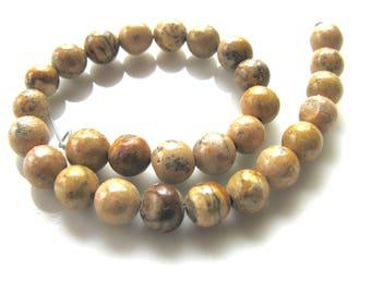 Jasper beads, Picture Jasper, 28 beads, 6mm, tan, brown, spacer beads, vintage beads, Jewelry supply B-1676
