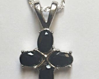 Black Crystal Cross Pendant Necklace ON SALE