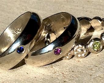 Minimalist Ring, Flush Set Simple Ring, Flush Set Stone Ring, Simple Silver Ring, Stacking Ring