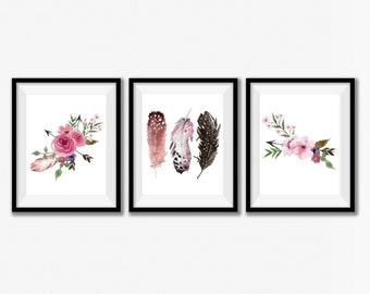 Girl Nursery Print Set, Rustic Home Decor, Home Decor Wall Art, Woodland Nursery Art, Boho Home Decor, Tribal Print Set, Floral Set of 3.