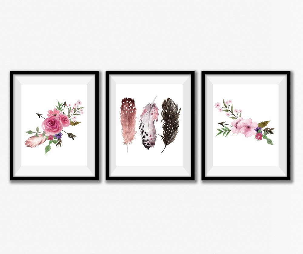 Nursery Wall Decor Set : Girl nursery print set rustic home decor wall