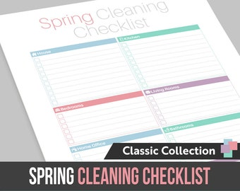 One Page Spring Cleaning Checklist - Instant Download! PDF format ready to edit or print at home!