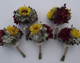 sunflower bouquet bridesmaids bouquets wedding bouquet wedding flowers artificial wedding bouquet