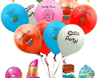 15 Ct - Shopkins Brithday Party Balloons - Great for Shopkins Shoppies Centerpieces cake topper decorations invitations party bag favors