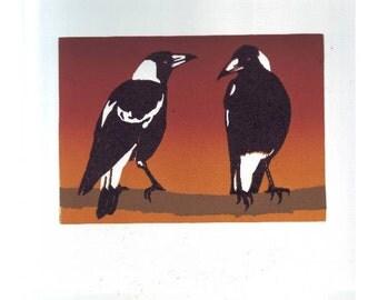 Original coloured linocut of two Australian Magpies