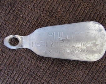Vintage Phillips Patented Spikes Shoehorn Shoe Horn Golf Free Shipping