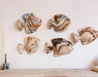 Set of 5 fish school Wall decor Ceramic fish sculpture 3D hanging wall art Bathroom Living Room Kitchen Fly fishing decor gift for him