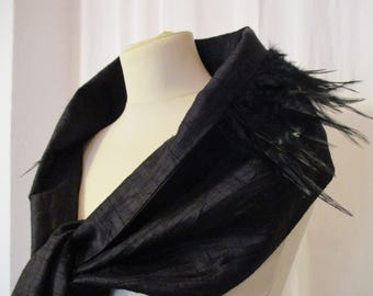 Silk shawl black