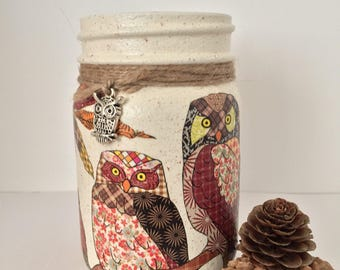 Patchwork owl ornamental jar, candle holder, utensil holder, desk tidy