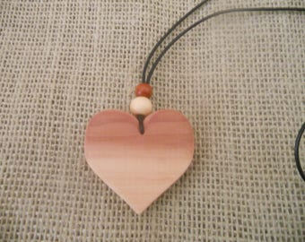 Exotic Wood Aromatic Cedar Heart Pendant. Wooden Jewelry. Bohemian Necklace. Women's Double Sided Portable Pendant.Girl's necklace.