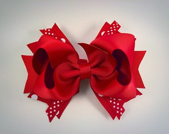 Red and white hair bow / holiday hair bow / Christmas hair bow