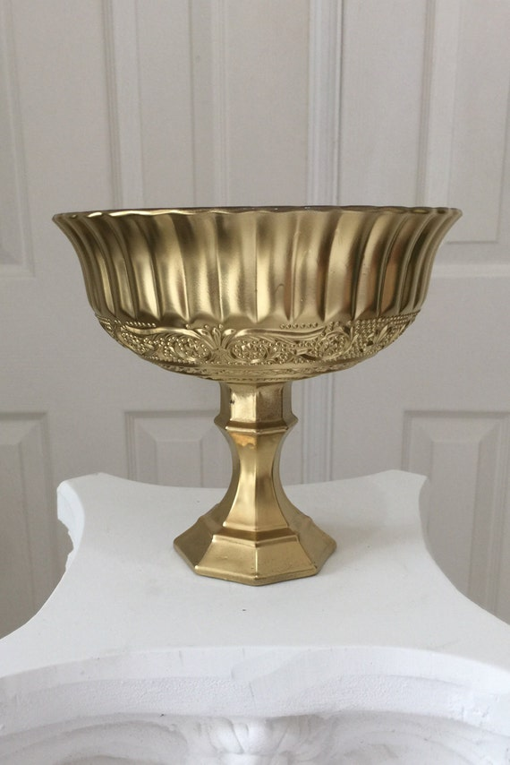 Pedestal vase yellow gold centerpiece wedding