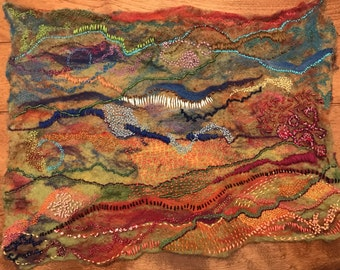 """Felted wool painting """"Intersections II"""""""