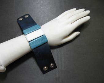 Genuine Leather Wristband with Snap Closure in Distressed Blue with Cyan and White Leather Button Accents
