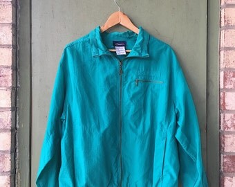 Vintage 80's Catalina Windbreaker // Teal Zip Up // Rain Coat // Fly Fish Outdoor Brand