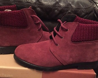 1980's wine coloured suede ankle boots size 6