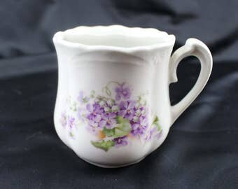 Three Crowns China Germany Moustache Mug, Ceramic, Flowers