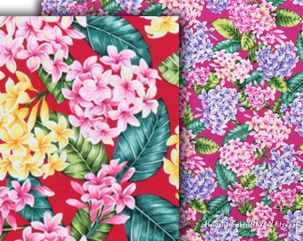 Fabric Plumeria Flowers Colorful Floral Red Fuchsia Pink Lavender Cotton Dress Quality HCN10089/HCN10090 Ask for Bulk