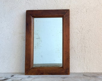 Antique Mirror with Wooden Frame, Victorian Era Hanging Mirror