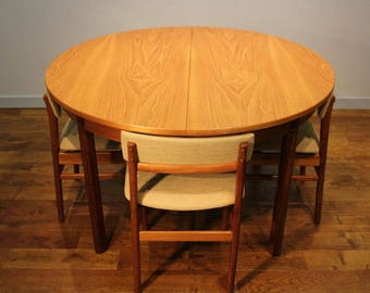 1960s Vintage White and Newton of Portsmouth Teak Dining Table and Chairs