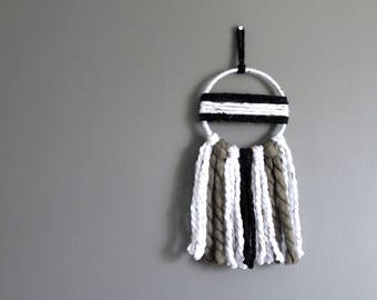 Dreamcatcher Wall Hanging | 6 Inch Dream Catcher | Yarn Wall Decor | Bohemian Boho Decor | Neutral Home | Monochrome Black & White Wall Art