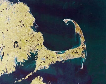 Cape Cod Bay Satellite Map (yellow)
