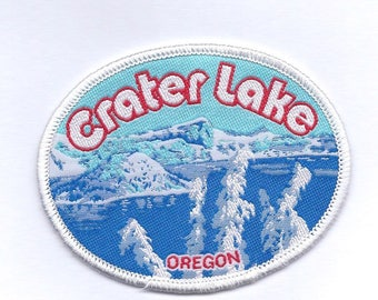 Vintage Winter Blue Crater Lake Patch