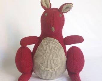 RED KANGAROO - Cleckheaton - Hand Knitted Toy - Knitted Toy - Knitted Kangaroo - Red Knitted Kangaroo - Soft Plush Toy - Marsupial