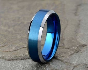 Mens Tungsten Wedding Band, 6mm, Blue Tungsten Ring, Brushed Wedding Band, Mens Wedding Ring, Anniversary, Mens Ring, Gift Custom Engraving