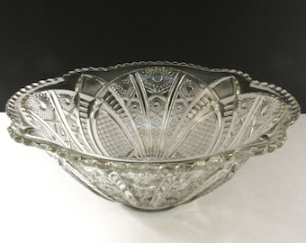 Awesome Antique EAPG Indiana Glass Co. Punch Bowl - Paneled Daisies & Finecut - Circa 1905