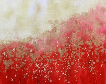 rain of gold/abstract painting red, gold/red/Golden/living/arts/acrylic decoration application abstract painting