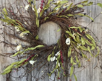 Fall Wreath-Rustic Wreath-Primitive Berry Wreath-Winter Wreath- Wreath-Rustic Home Decor-Primitive Country-Autumn Door Decor