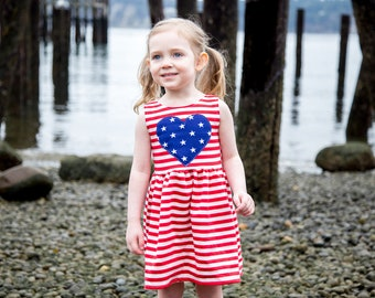 Patriotic Dress - Toddler Dress - Baby Dress - Girl Dress -  Fourth of July Dress - American Flag - Toddler Outfit - Baby Outfit - 4th July