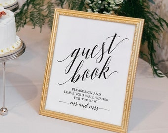 Guest Book Sign, Guest Book Wedding, Guest Book Ideas, Wedding Printable, Wedding Template, PDF Instant Download #BPB310_45C