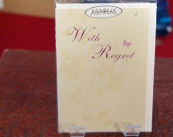 With Regret Card  Red Writing and a Butterfly