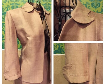 Vintage 1940s Suit - Taupe Skirt and Blazer Set w Scalloped Cuffs & Collar - S