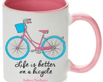 Pink Bicycle Mug, Bicycle Coffee Mug, Coffee Mugs, Bike Mugs, Bike Coffee Mugs, Bicycle Mug Red Bike, Blue Coffee Mug, Bicycle Gift for Her