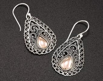 Ethnic drop earrings. Bohemian jewelry. Filigree earrings. Sterling silver earrings. Hand made earrings