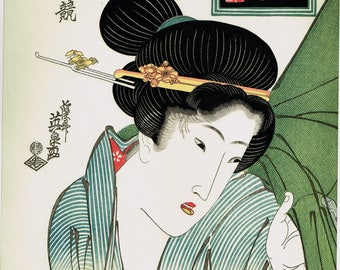 "Japanese Ukiyo-e Woodblock print, Eisen, ""Beauty and Mosquito Net"""